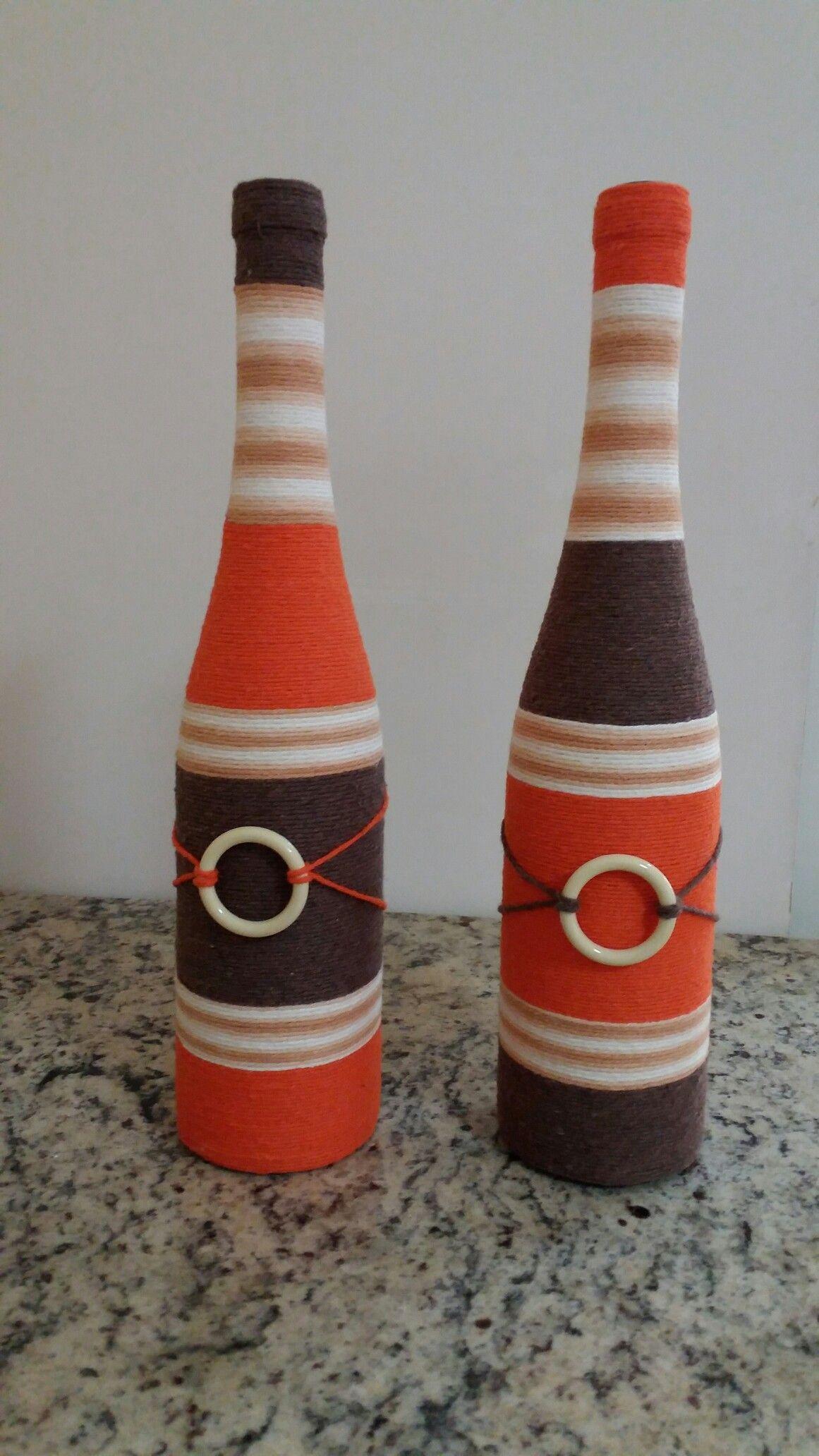 Botellas Decoradas Botellas Decoradas Para Navidad Botellas De Vidrio Decoradas Jarras Botellas Deco Bottle Crafts Wine Bottle Diy Crafts Wine Bottle Crafts