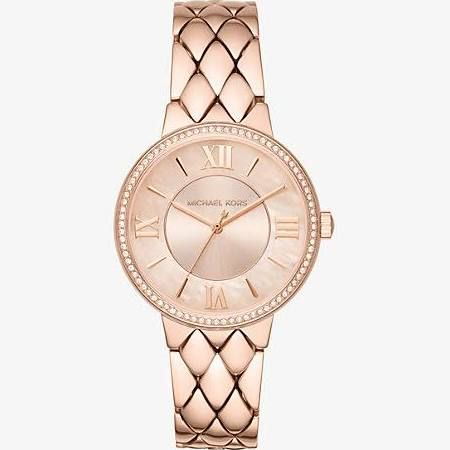 825b01681234 Michael Kors MK3705 Courtney Pave Rose Gold-Tone Watch