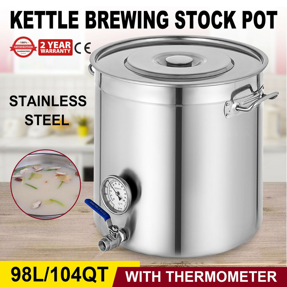 Ebay Sponsored 103 Qt Kettle Brewing Stock Pot Thermometer Large Quart Covered Heavy Duty Steel House Stock Pot Home Brewing Beer