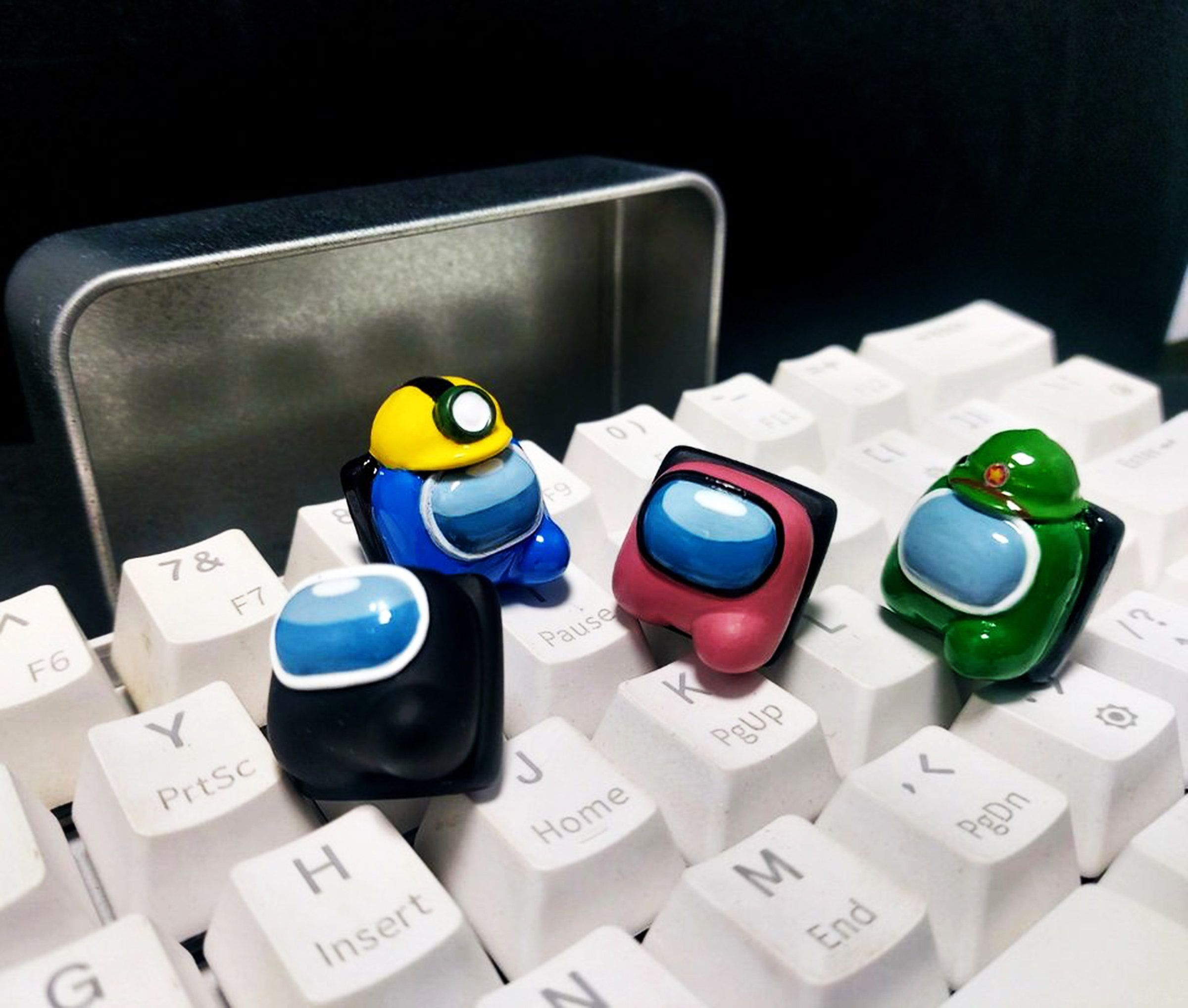 Handmade Among Us Emotion Resin Keycaps Among Us Acessories Mini Crewmembers Lovely Gifts For Frien Video Game Room Design Cowboy Theme Party Gaming Products