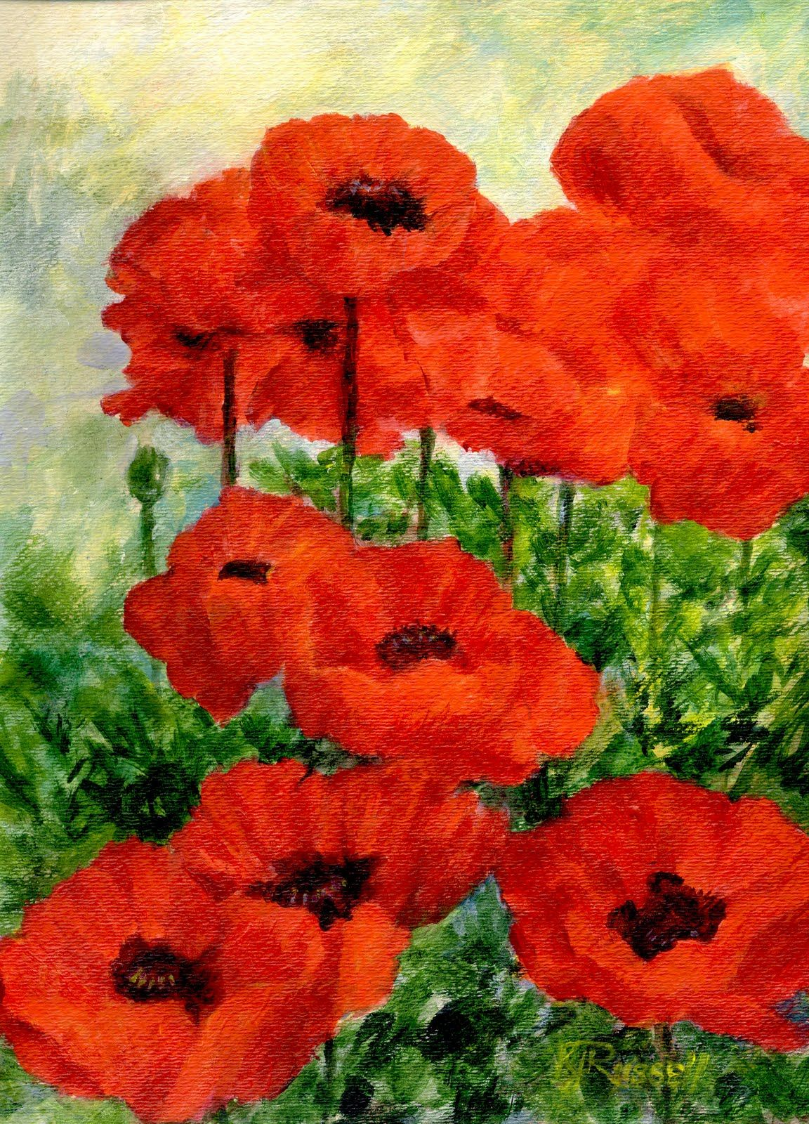 Poppy Flower Paintings Colorful Original Painting Of Red Poppies