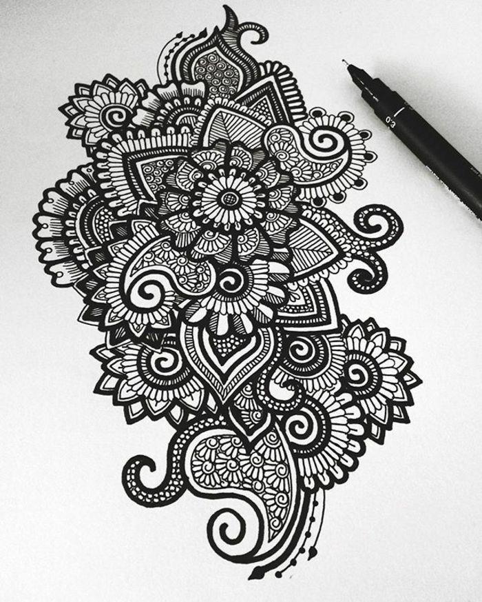 comment dessiner une rosace, mandala blanc et noir, crayon, papier ...