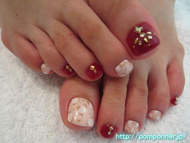 秋らしさ満点のフットネイル foot nail of autumn likeness perfect score. I was