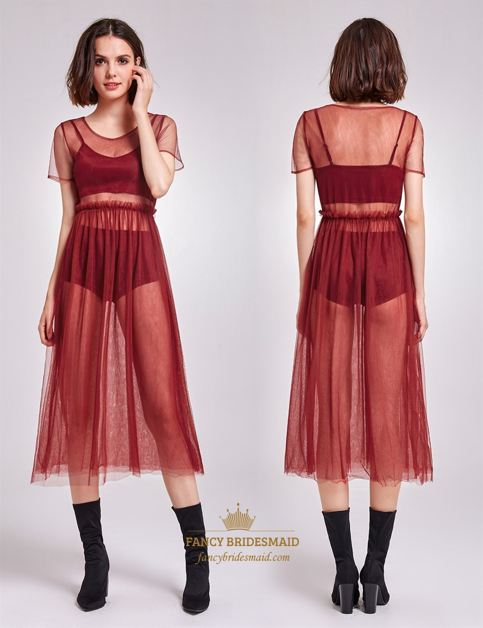 Burgundy Sheer Tulle Overlay Short Sleeve A Line Tea Length Dress Tulle Dress Short Tulle Dress Diy Mesh Dress Outfit [ 1280 x 986 Pixel ]