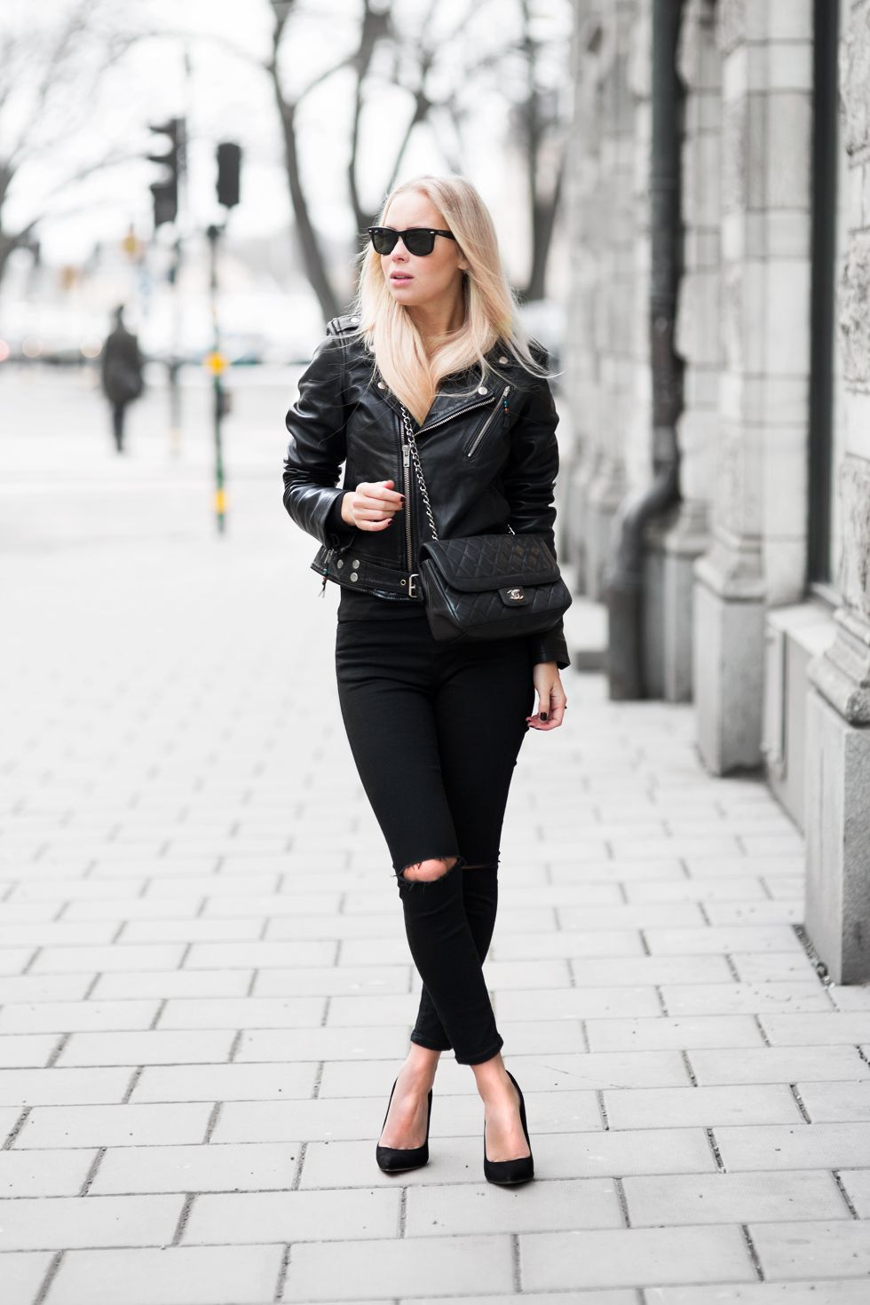 Fashion Bloggers Leather Jacket Style All Black Outfit Leather Jackets Women [ 1470 x 980 Pixel ]
