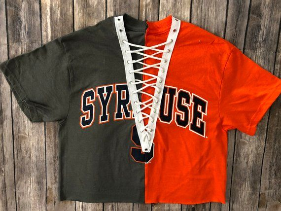 b89d940844 Syracuse Short Sleeve 1 2   1 2 Crop Lace Up Tee   Cuse  Half and Half Shirt    Game Day Apparel   Tailgate Tops   College Tee