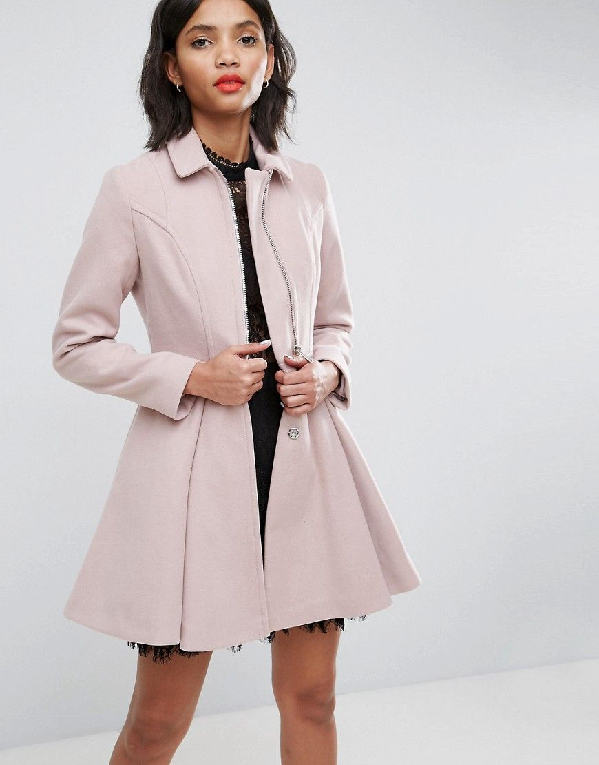 79b1e60a26 ASOS Swing Coat with Full Skirt and Zip Front - Cream