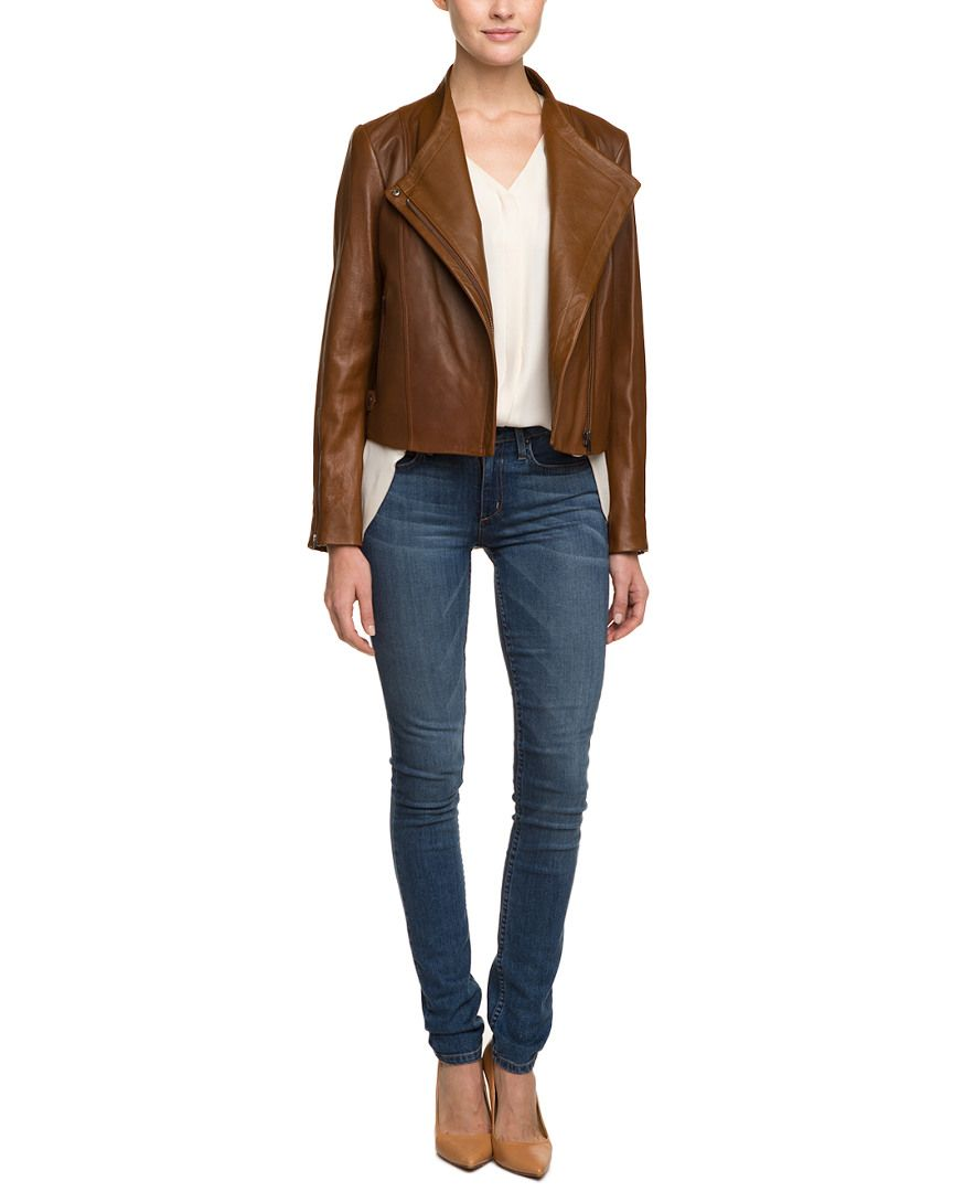 """Theory """"Phelan.New Ford"""" Saddle Leather Jacket is on Rue. Shop it now."""