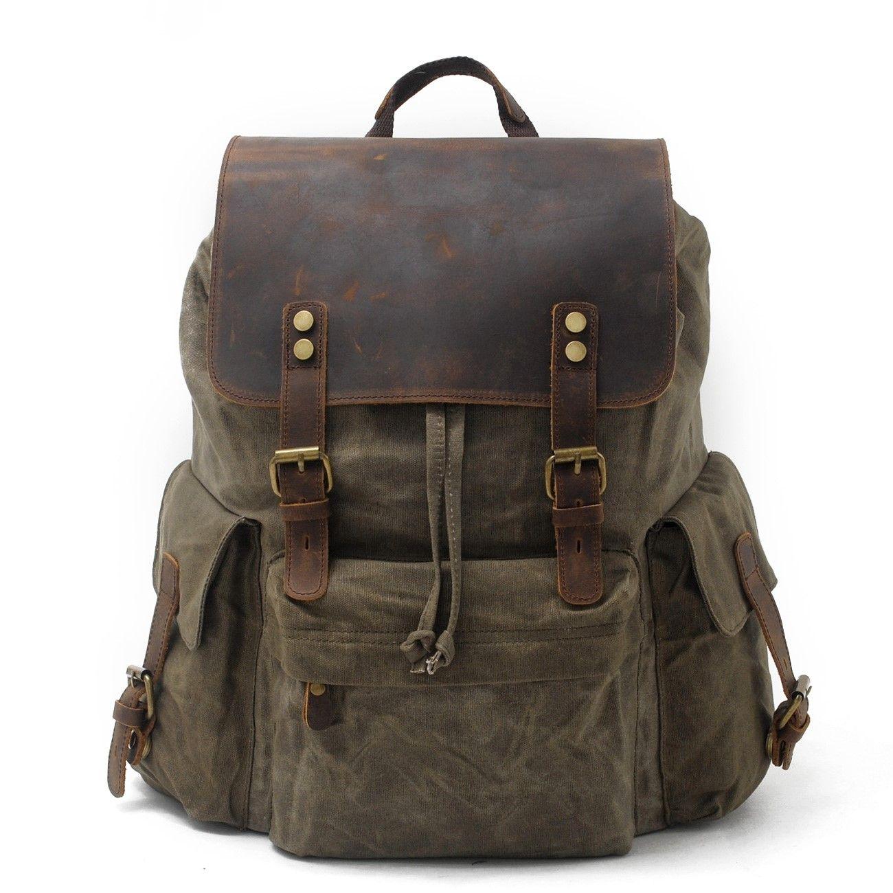 Men/'s Waterproof Vintage Leather School Bag Laptop Rucksack Computer Backpack