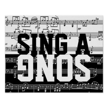 Sing a song black white music poster