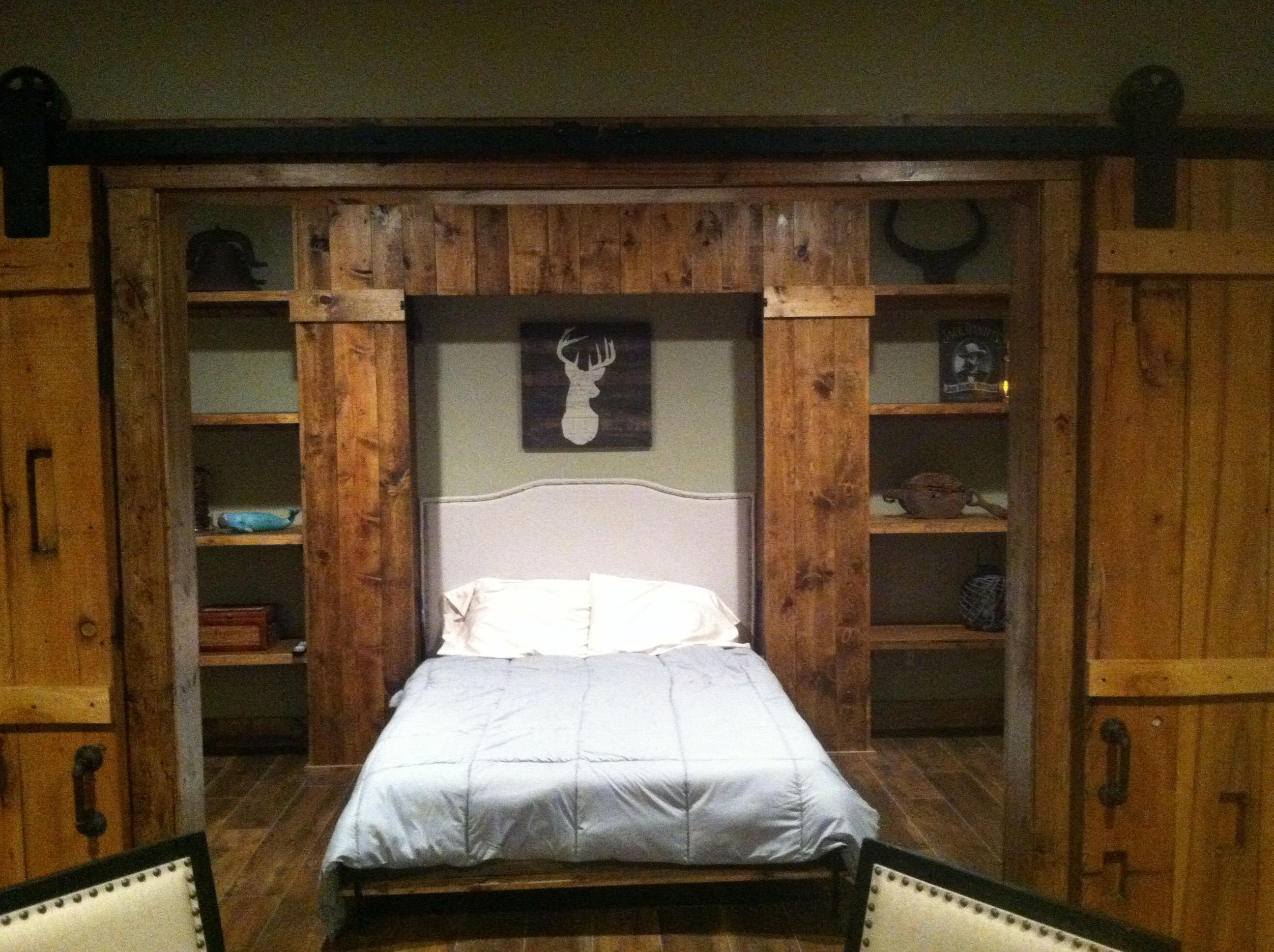 Rustic Murphy Bed A Murphy Bed Changes This Game Room Into An Instant Guest Room Rustic