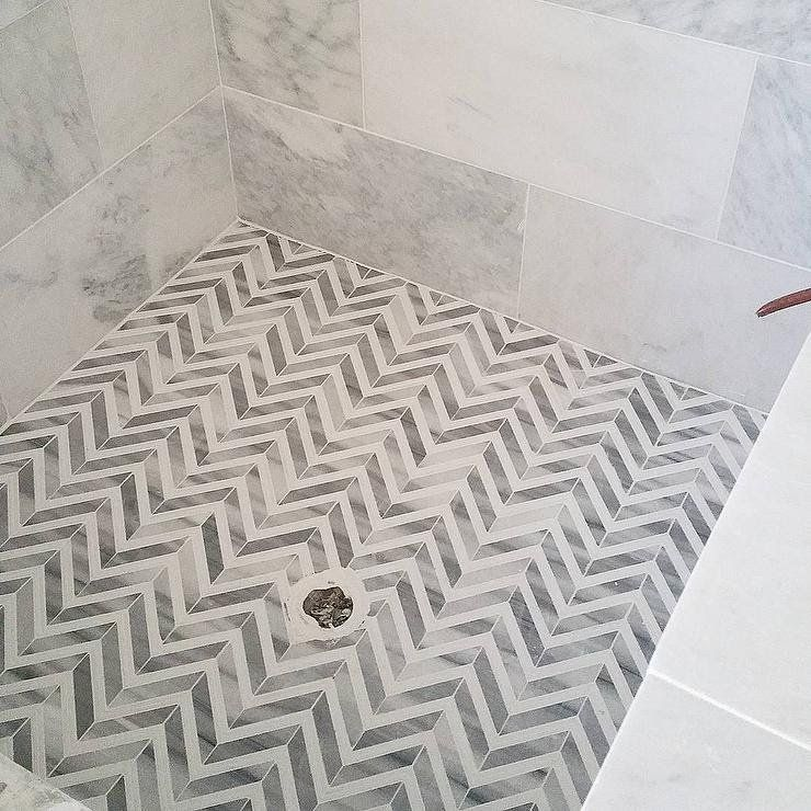 White And Gray Marble Herringbone Shower Floor Shower Floor Bathroom Floor Tiles Bathroom Flooring