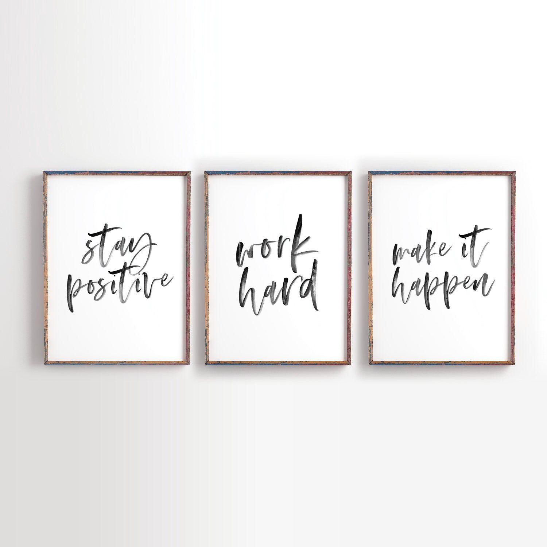 Minimalist Decor Positive Affirmations Art Positive Quotes Printed Make It Happen Motivational Poster 029
