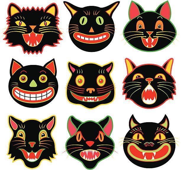 Halloween Cat Heads Vintage Halloween Art Retro Halloween Black Cat Halloween