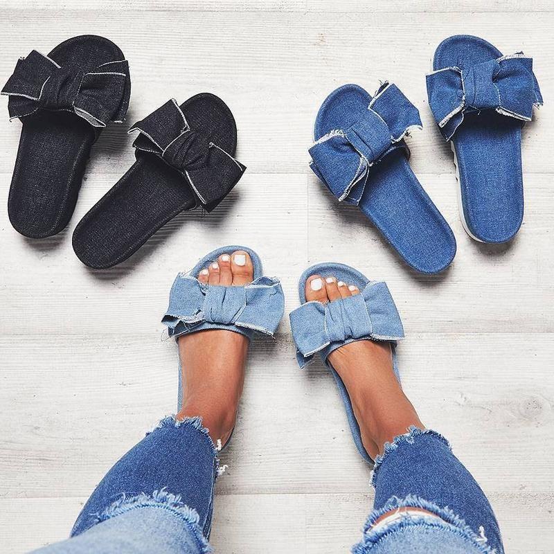 Stylish Denim Bow Tie Design Platform Sandals Sandles
