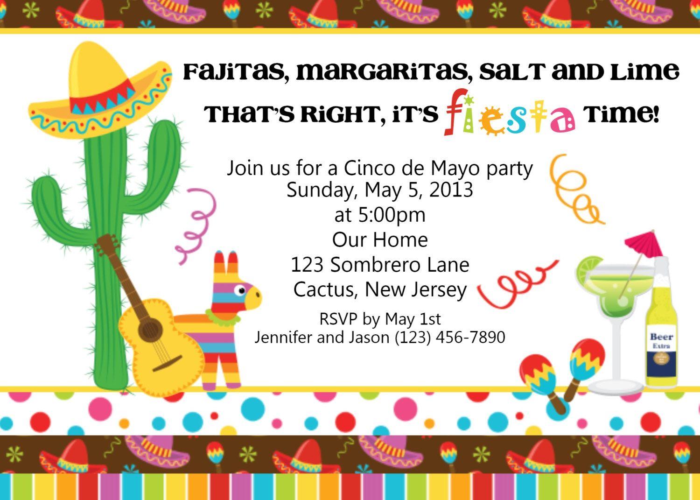 Fiesta Cinco De Mayo Invitation Personalized Custom Mexican Birthday Invitation Fiesta Cinc Mexican Party Invitation Party Invite Template Fiesta Invitations