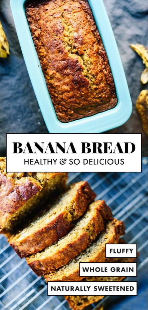 This healthy banana bread is naturally sweetened with maple syrup. With only a few simple ingredients, you're one bowl away from the best banana bread ever! #cookieandkate #bananabread #naturallysweetened #healthyrecipe #wholegrains