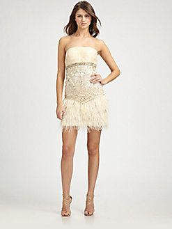 fe4ca71ded6 Sue Wong - Strapless Feather Dress