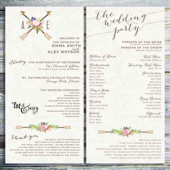 PRINTABLE WEDDING PROGRAM Customize Your Wedding Timeline