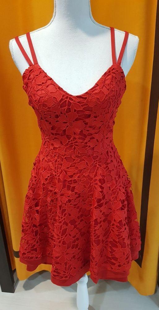 Sexi abito donna vestito da cerimonia elegante ROSSO M medium pizzo lace dress