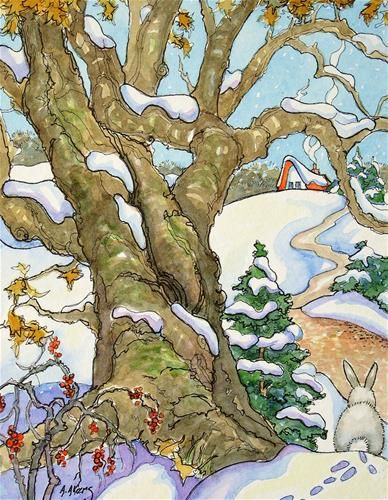 """The Giving Thanks Tree Storybook Cottage Series"" - Original Fine Art for Sale - © Alida Akers"