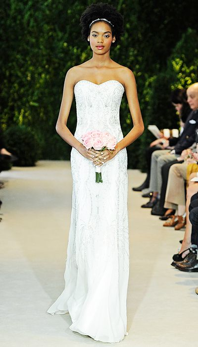 Carolina Herrera: Ivory embroidered silk chiffon strapless gown