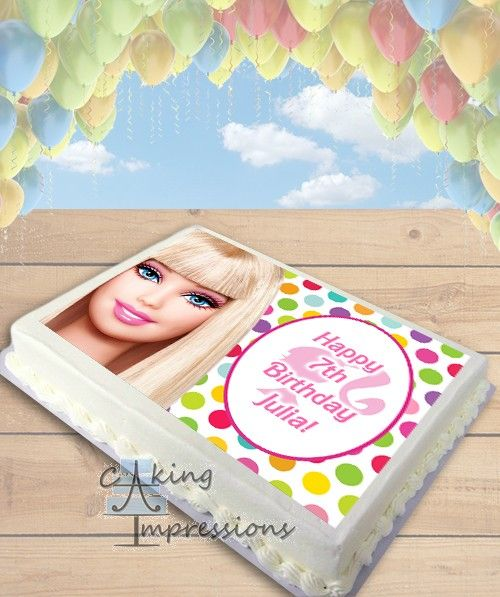 Barbie Doll Edible Frosting Image Cake Topper SHEET