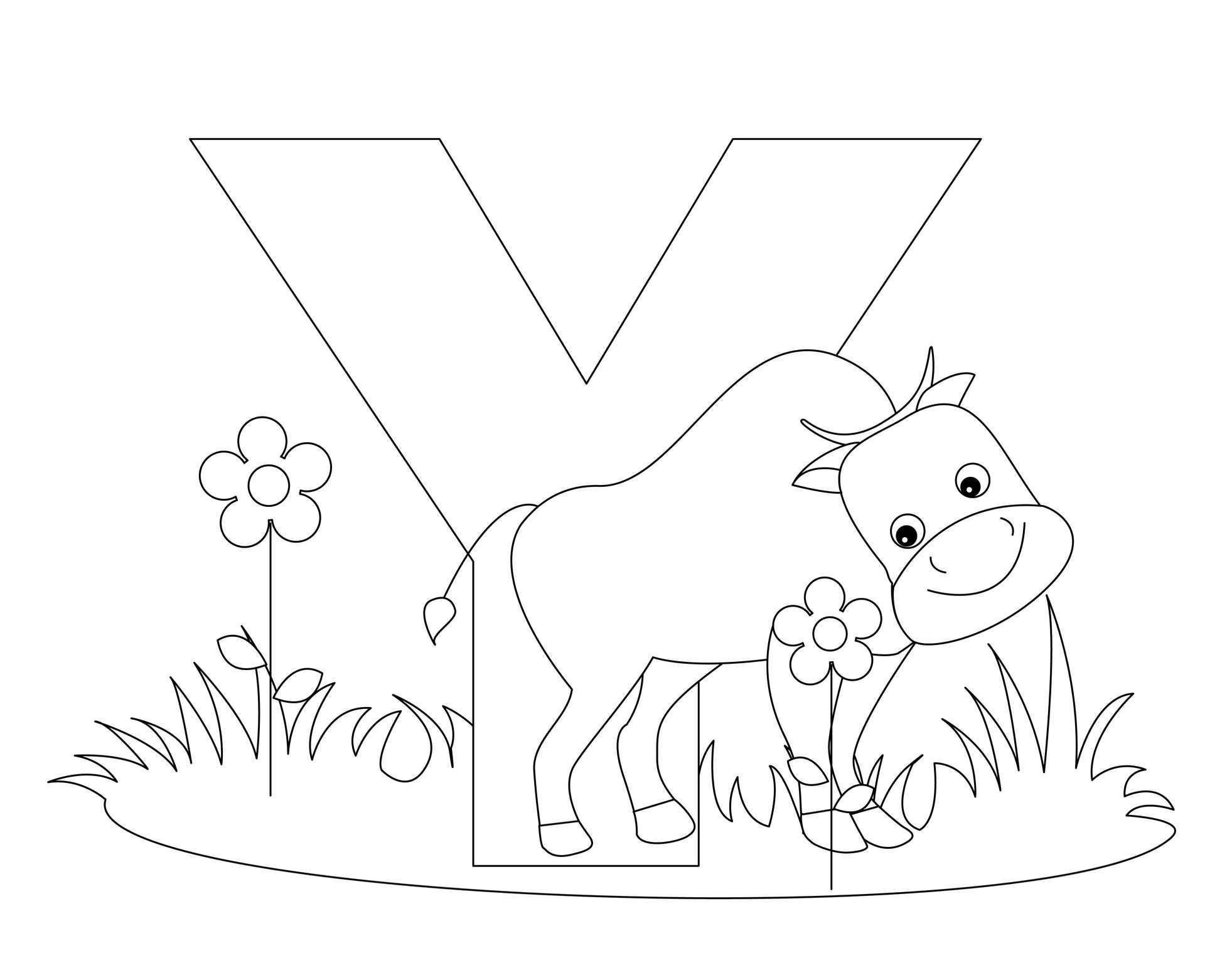 Animal Alphabet Letter Y is for Yak! Coloring page ...