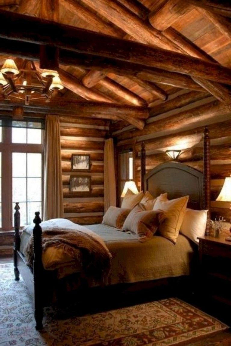 94 Graceful Comfy Bedroom Decorating Ideas Page 83 Of 94 Log Home Bedroom Log Cabin Bedrooms Cabin Bedroom