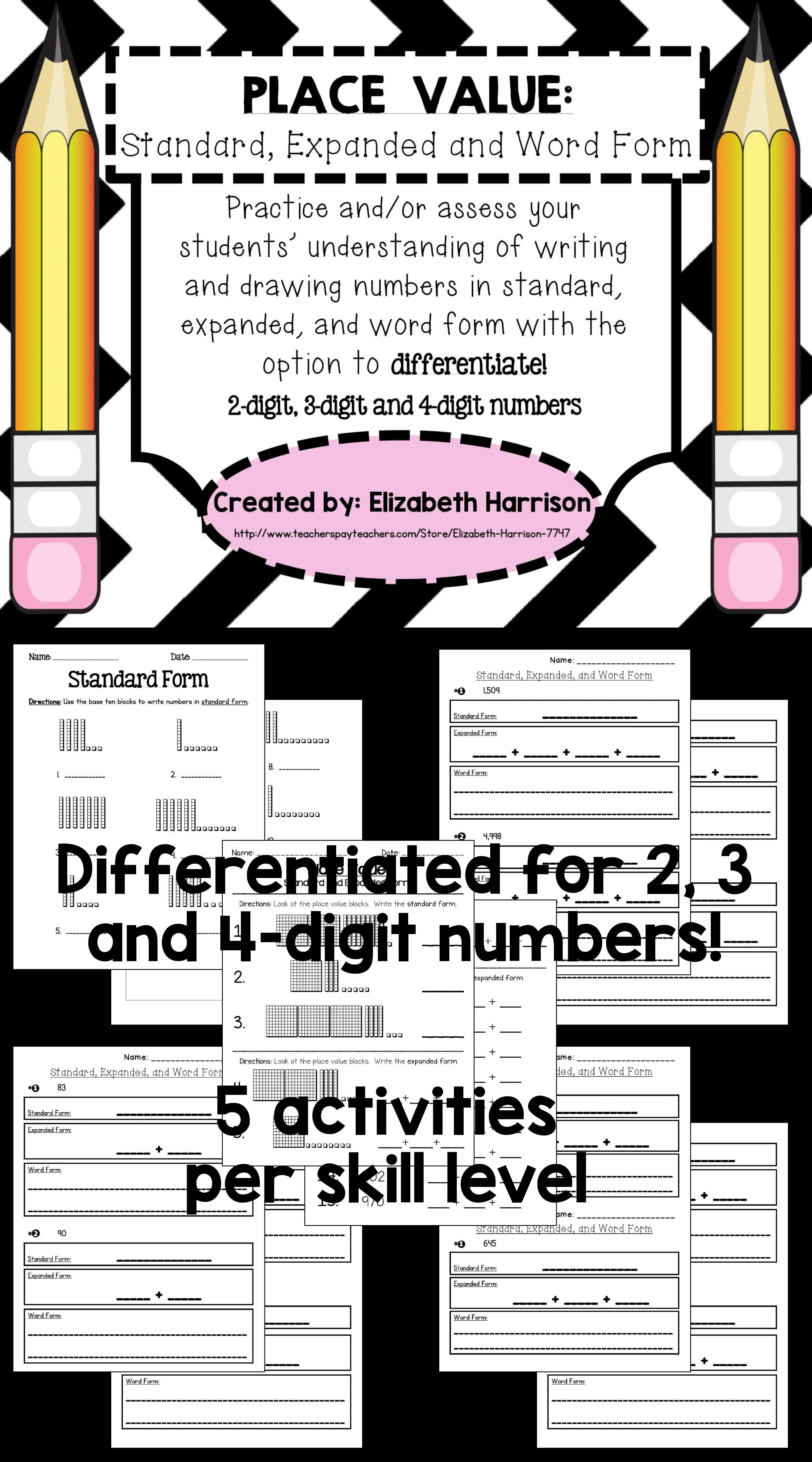 Place Value Standard Expanded And Word Form 2 3 And 4