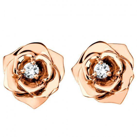 Gold Rose Diamond White Round Earrings Stud Delicate Diamonds Rose Earrings Wedding Jewelry