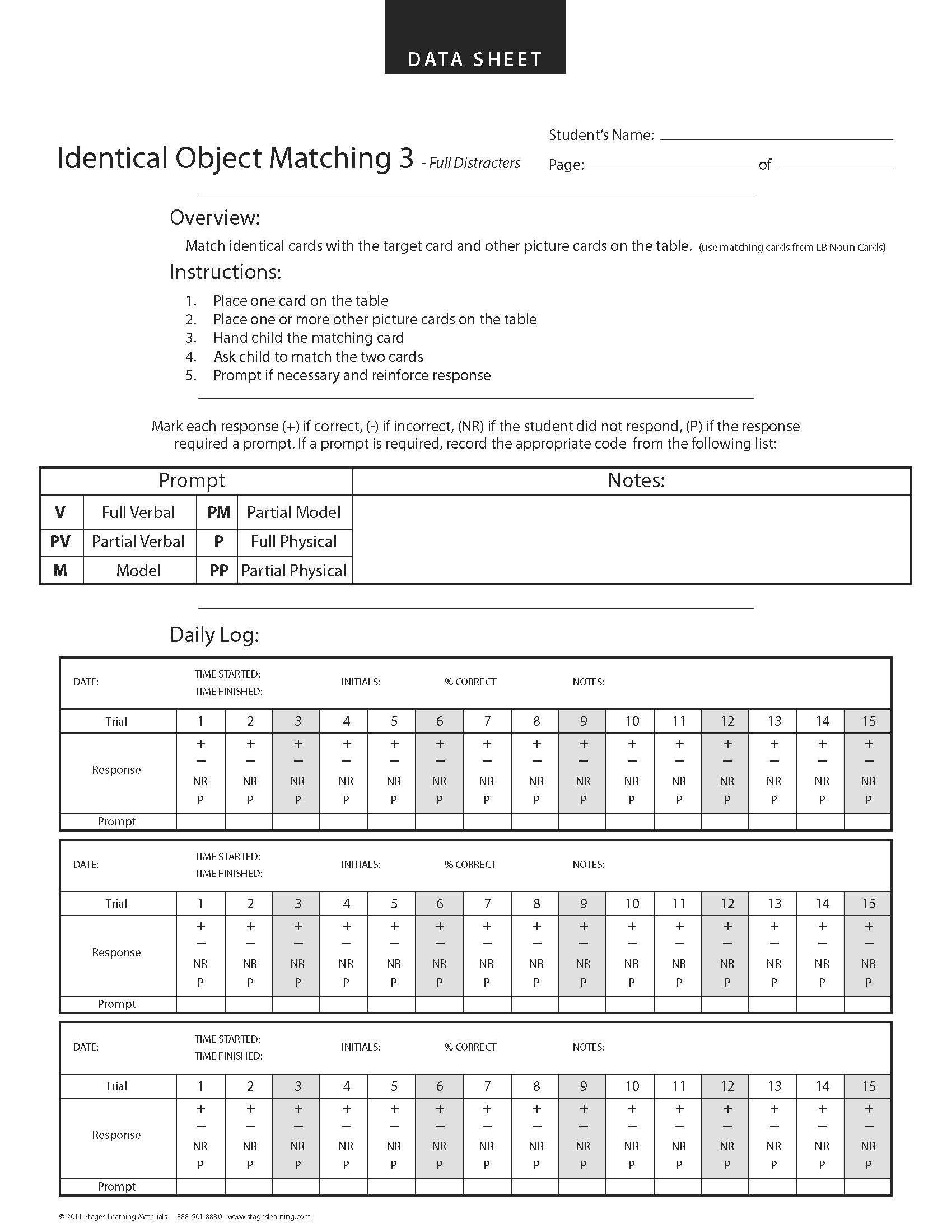 Data collection identical matching aba data sheet