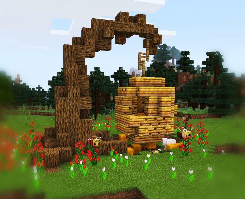 Simple Beehive Design  Minecraft designs, Minecraft houses