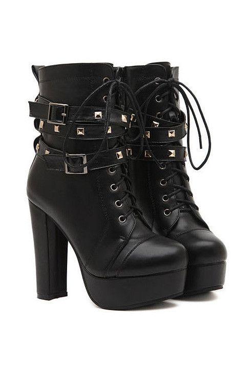 a8958f976c Black Studded Chunky Lace-Up Platform Boots #MYTRENDTWOWARDROBE ...