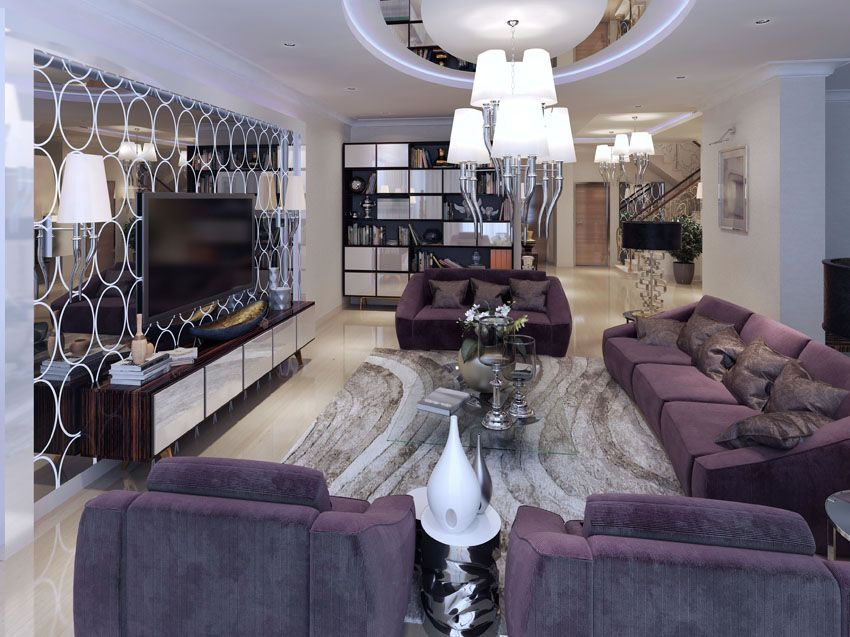 Modern Purple And Silver Living Room Decor