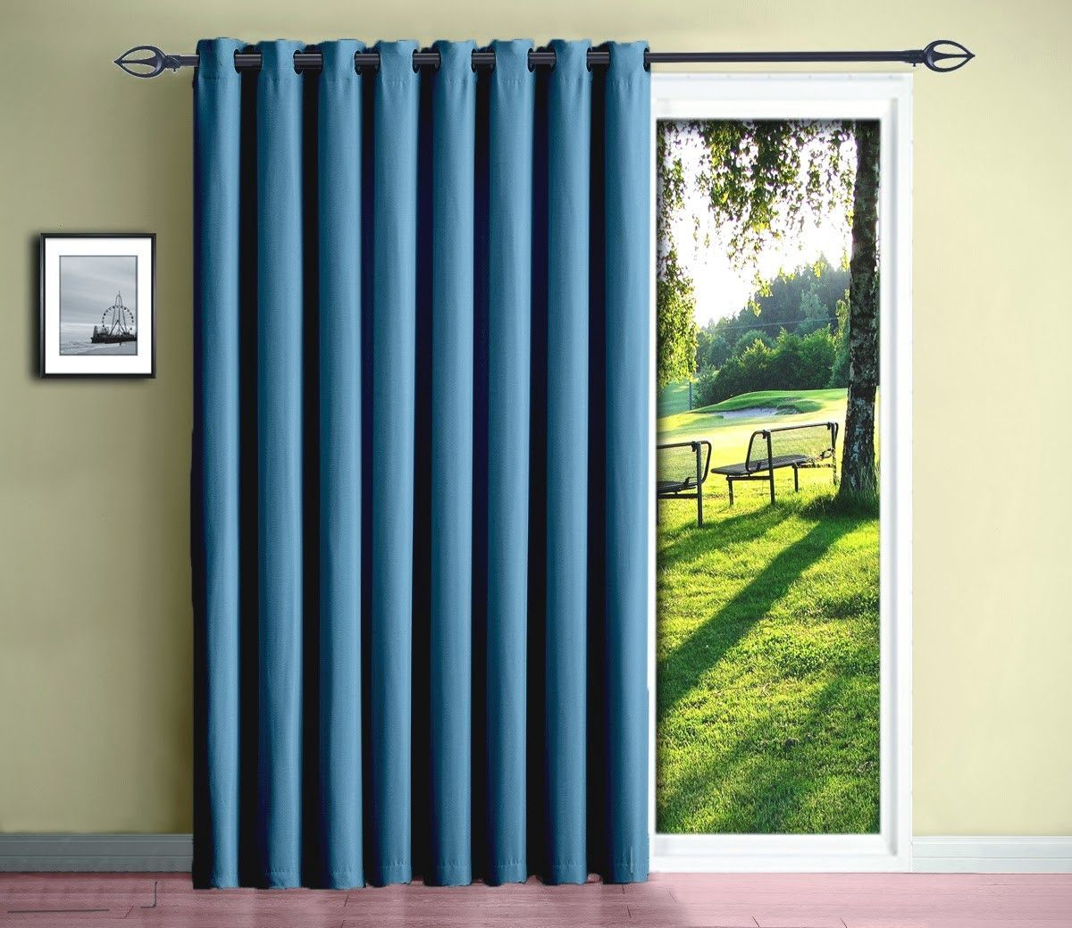 Warm Home Designs Insulated Blackout Blue Teal Sliding Door or Patio Door Curtains