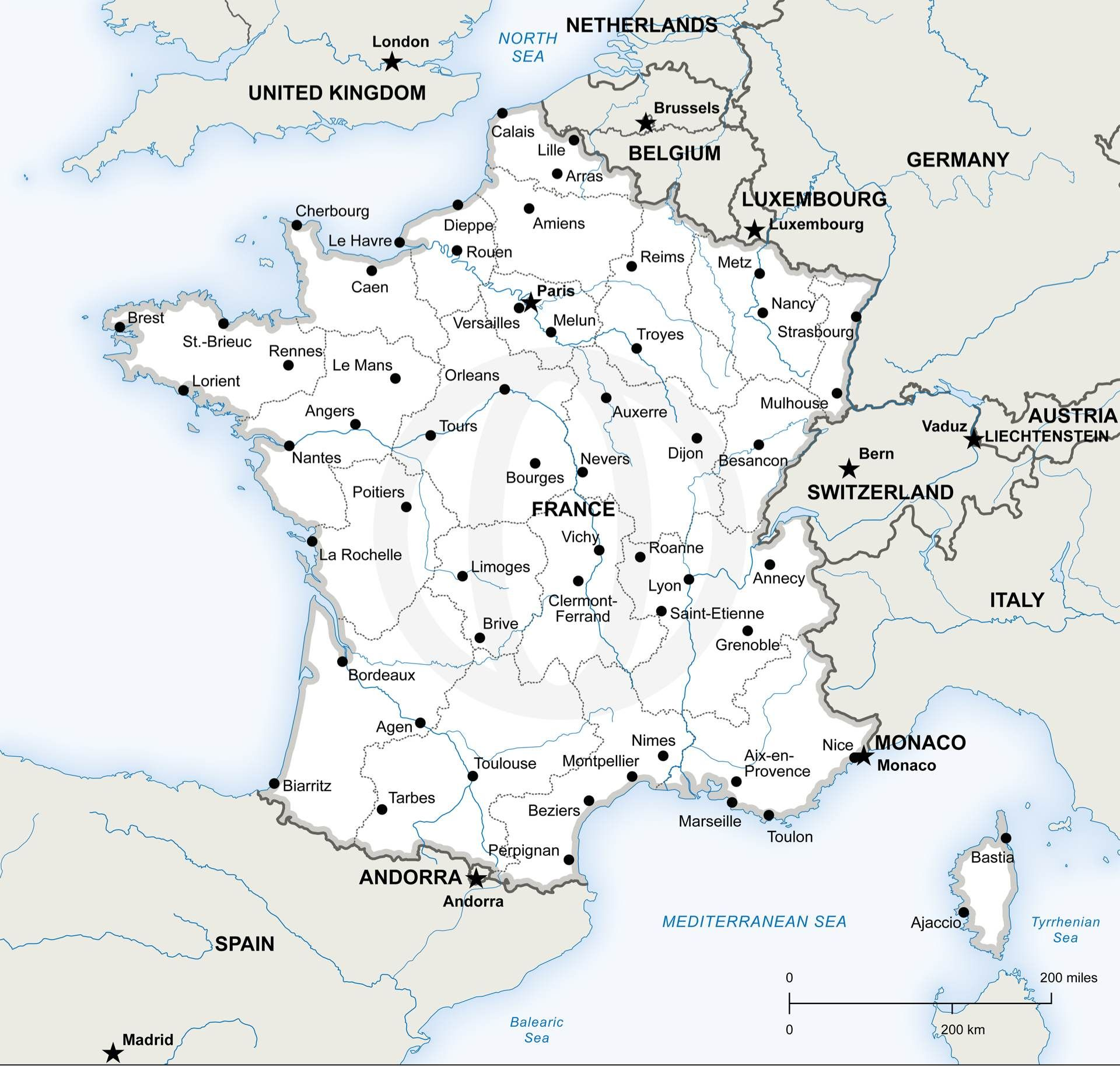 Vector Map of France Political  Vector format France and Europe