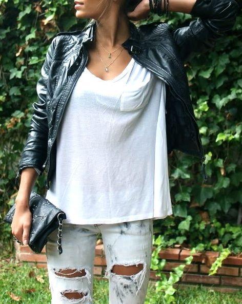 Leather + distressed denim.
