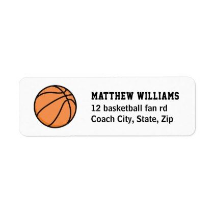 Basketball Return Address Labels Birthday Party Stuff