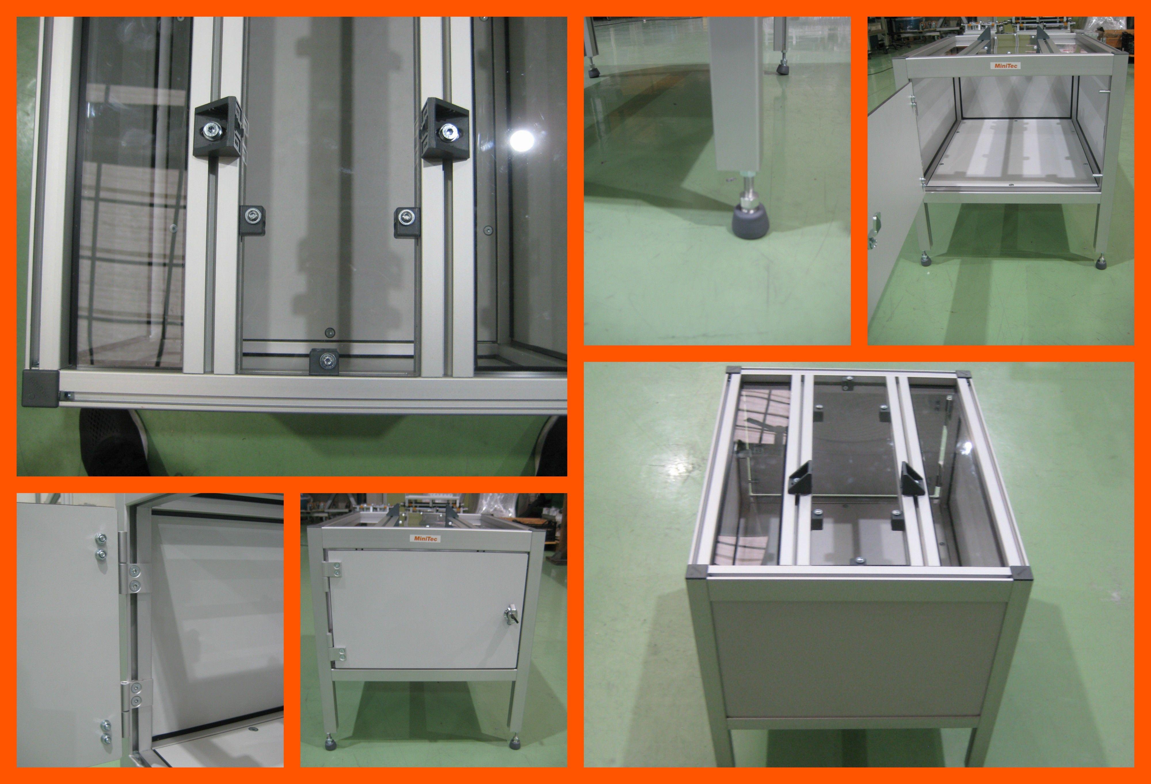 Cajón con cerradura realizado con diversos perfiles de aluminio MiniTec.