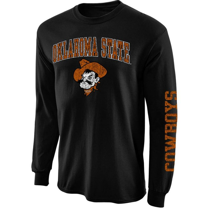 Oklahoma State Cowboys New Agenda Distressed Arch & Logo Long Sleeve T-Shirt - Black