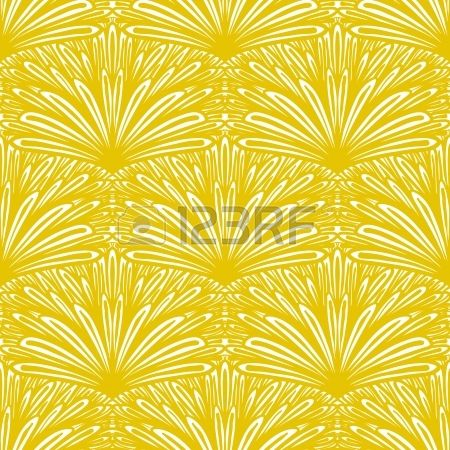 Art deco floral pattern in golden yellow color Stock Vector