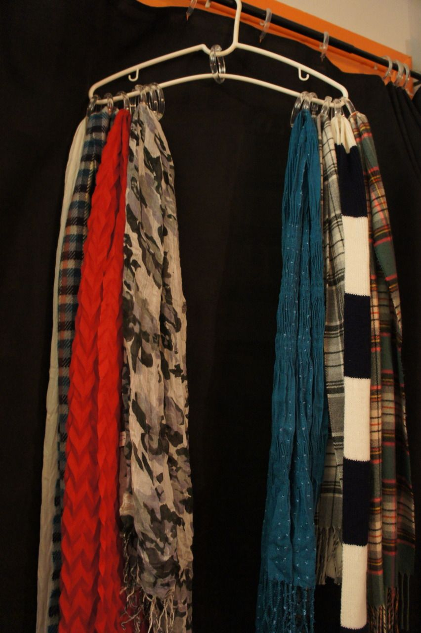 Diy scarf holder made out of shower curtain rings diy