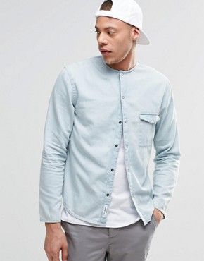 Cheap Monday Erase Denim Shirt Collarless | Sum17 | Pinterest