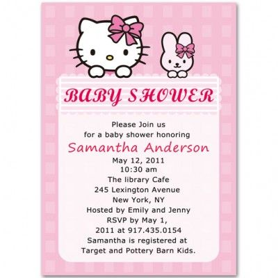 hello kitty and rabbit baby girl shower invitations bs072 Hello