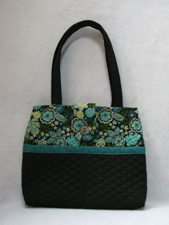 Quilted Purse Teal Black Floral Tote Bag by MyQuiltedNotions ... : quilted floral tote bags - Adamdwight.com