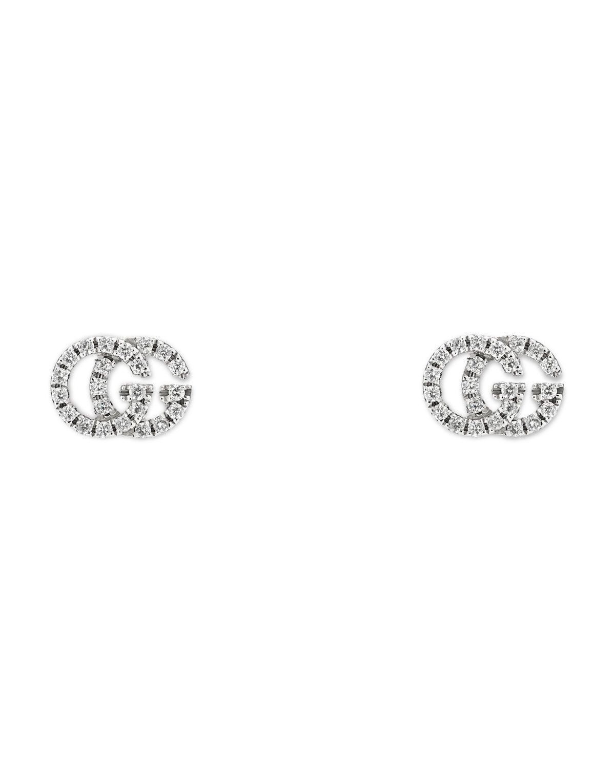 efd01541ca6 Gucci Running G Pave Diamond Stud Earrings in 18K White Gold ...