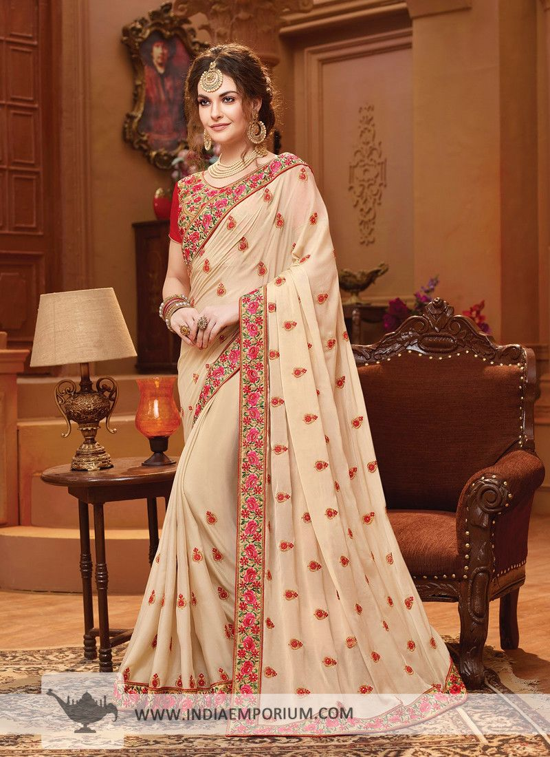 a9cba2a685d61c Ravishing Georgette Cream    Red  Embroidered  Stone Work  Saree ...