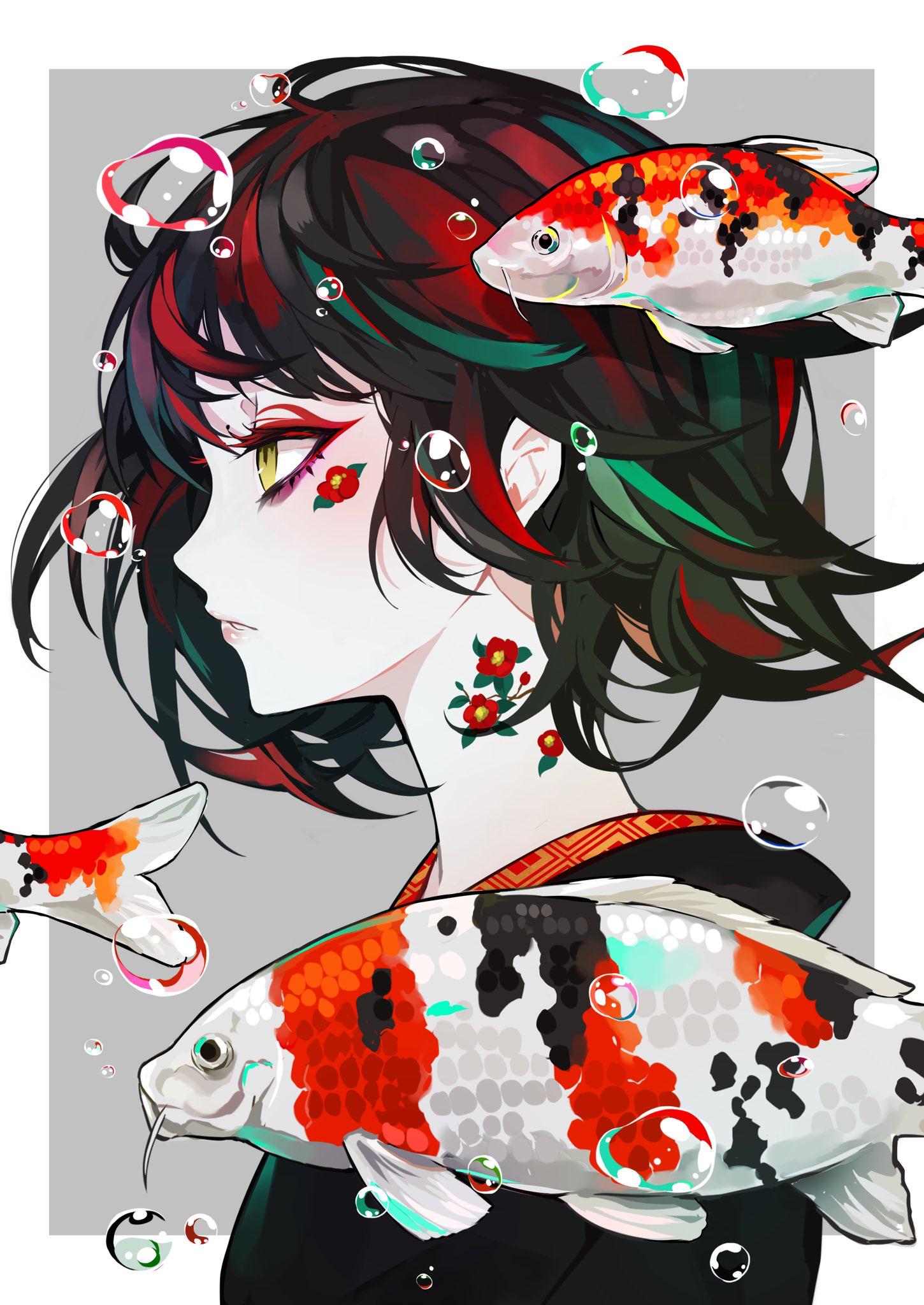 Art Illustration Koi Art Manga Style Minimalist Side Profile Drawing Eyes Pale Koi Art Manga Art Anime