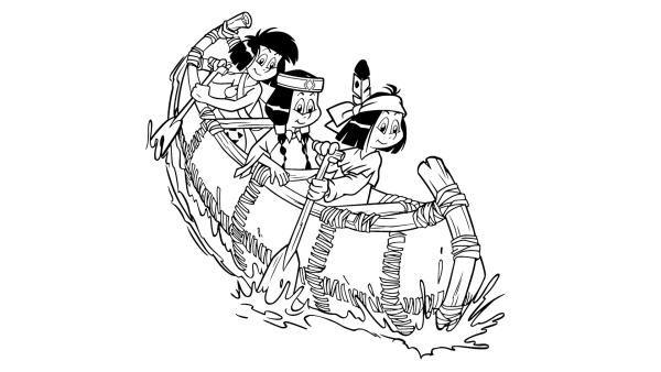 ausmalbilder yakari indianer im boot 01  ausmalen